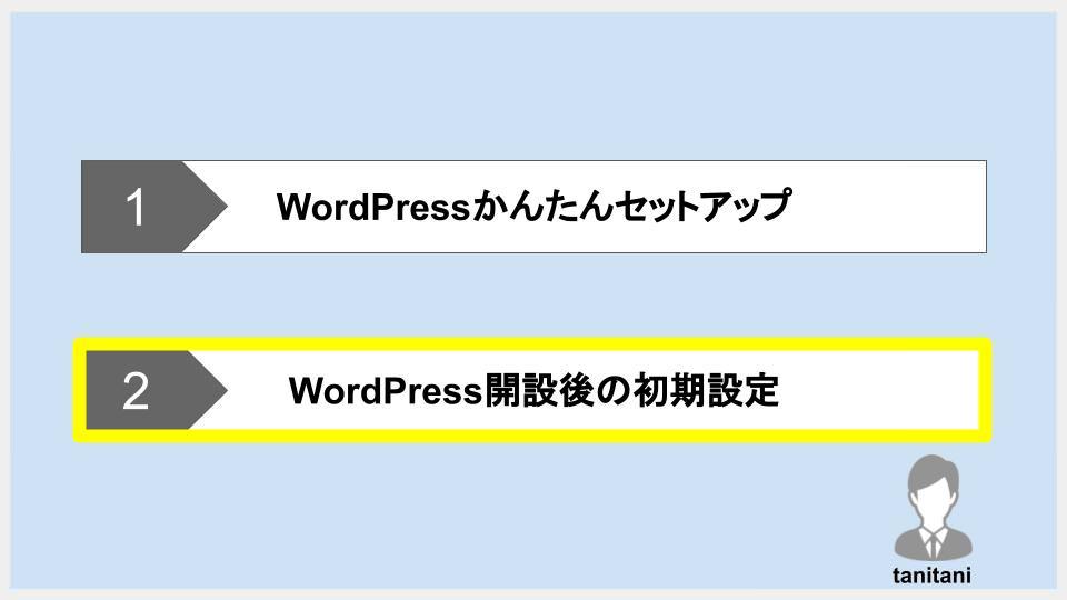 手順②:WordPressの初期設定